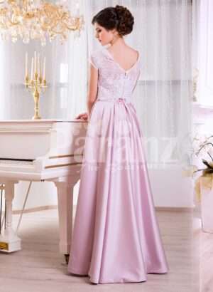 Women's small cap sleeve white lacy bodice evening gown with metallic mauve satin skirt back side view