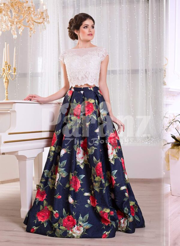 Women's small cap sleeve white satin bodice evening gown with rosette print skirt