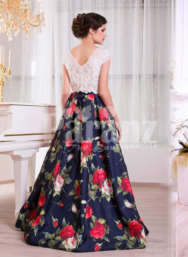 Women's small cap sleeve white satin bodice evening gown with rosette print skirt back side view