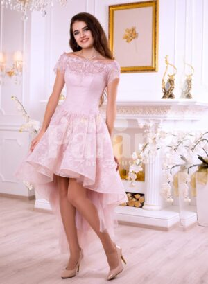 Women's soft and light pink high low satin evening gown with elegant lace work all over