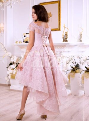 Women's soft and light pink high low satin evening gown with elegant lace work all over back side view