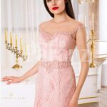 Women's soft light pink mermaid style rich satin gown with same hue appliqués