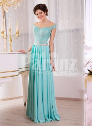 Women's soft mint floor length rich satin evening gown with glam appliquéd bodice