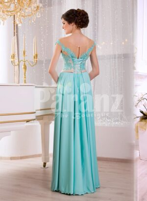 Women's soft mint floor length rich satin evening gown with glam appliquéd bodice back side view