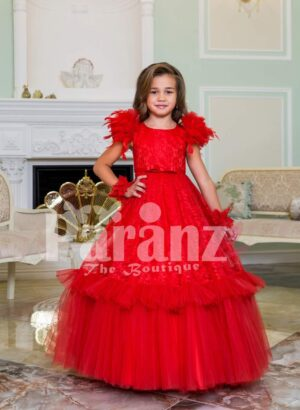 Women's soft red feather shoulder baby gown with floor length ruffle-tulle long skirt