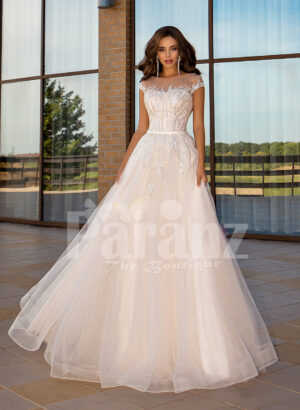 Women's stunning all white tulle wedding gown with royal bodice