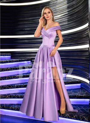Women's super glam and stylish side slit floor length soft satin gown with off-shoulder bodice