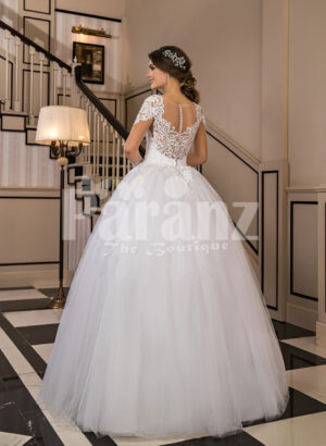 Women's super glam exclusive flared and high volume wedding tulle gown in white back side view
