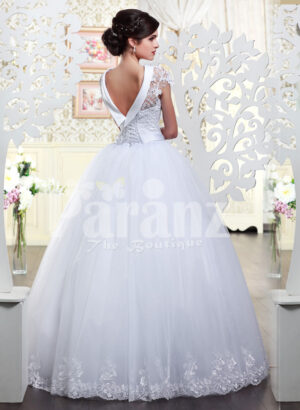 Women's super lacy royal bodice wedding gown with high volume flared white tulle skirt Back side view