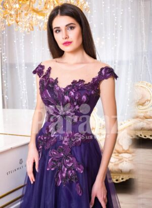 Women's super soft and sooth floor length tulle skirt gown with purple flower appliqués