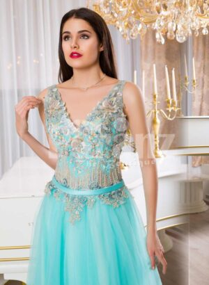 Women's super soft and stylish mint tulle skirt evening gown with rich floral bodice
