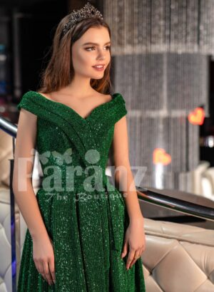 Women's super stylish and elegant glitz green party gown with side slit skirt