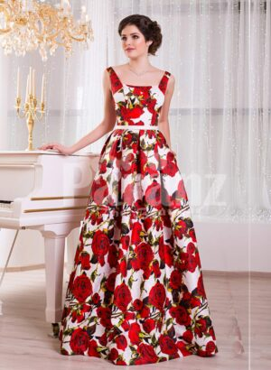 Women's super stylish and fancy rich satin long gown with red rosette prints all over