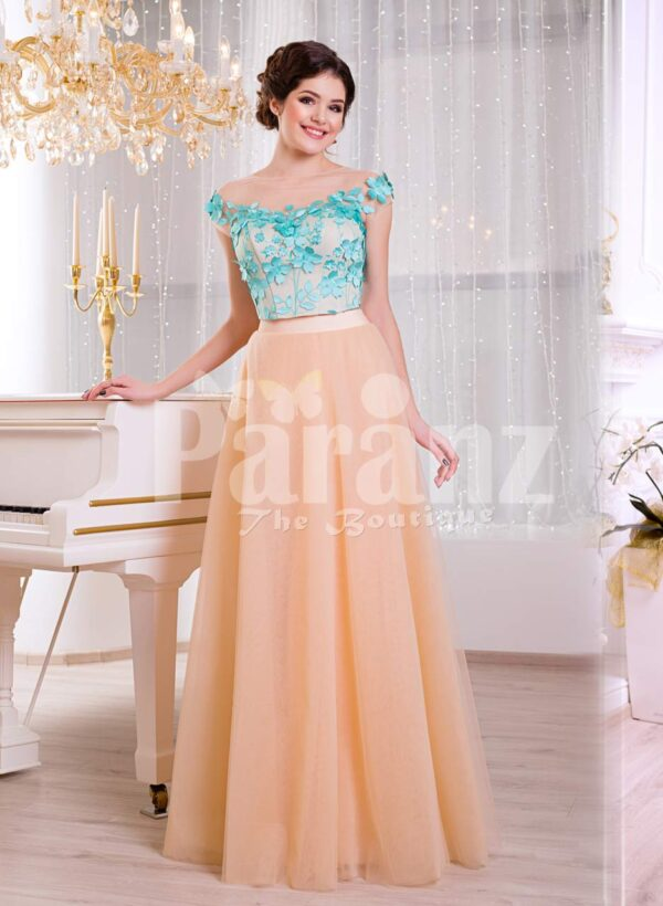 Women's super stylish long tulle skirt peach gown with mint floral appliquéd bodice