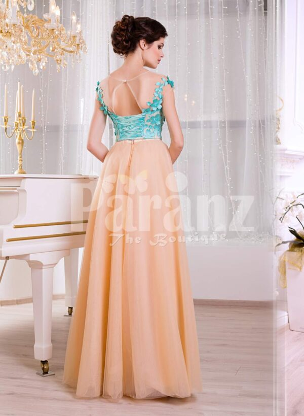Women's super stylish long tulle skirt peach gown with mint floral appliquéd bodice back side view