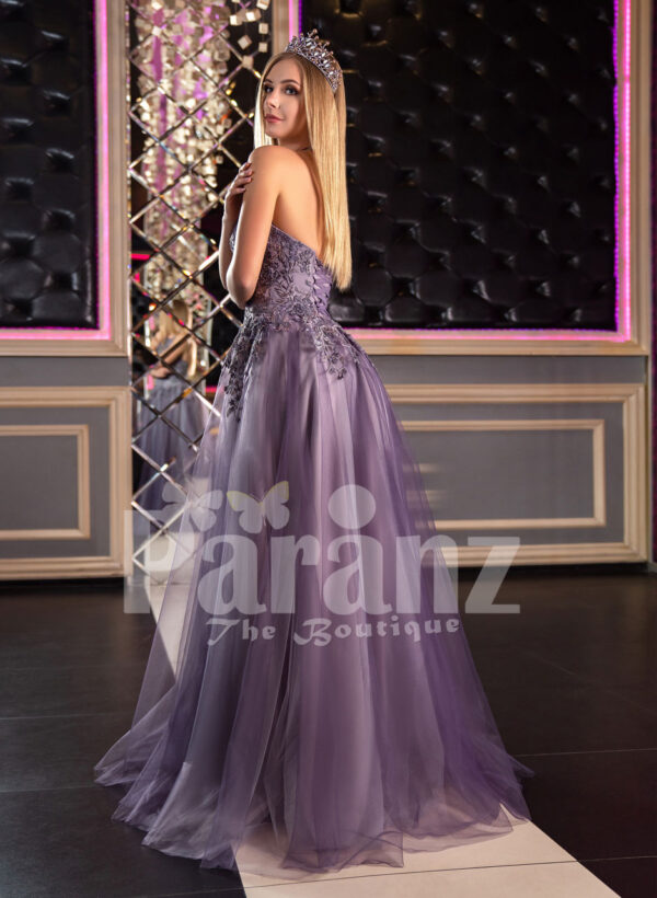 Women's super stylish off-shoulder flared tulle skirt gown in metal purple baxk side view