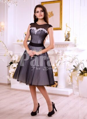 Women's tea length rich satin-sheer evening party dress with white lace appliquéd bodice