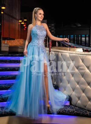 Women's truly beautiful glitz sky blue side slit tulle skirt gown with royal bodice