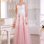 Women's truly elegant pink tulle skirt evening gown with sleeveless white bodice