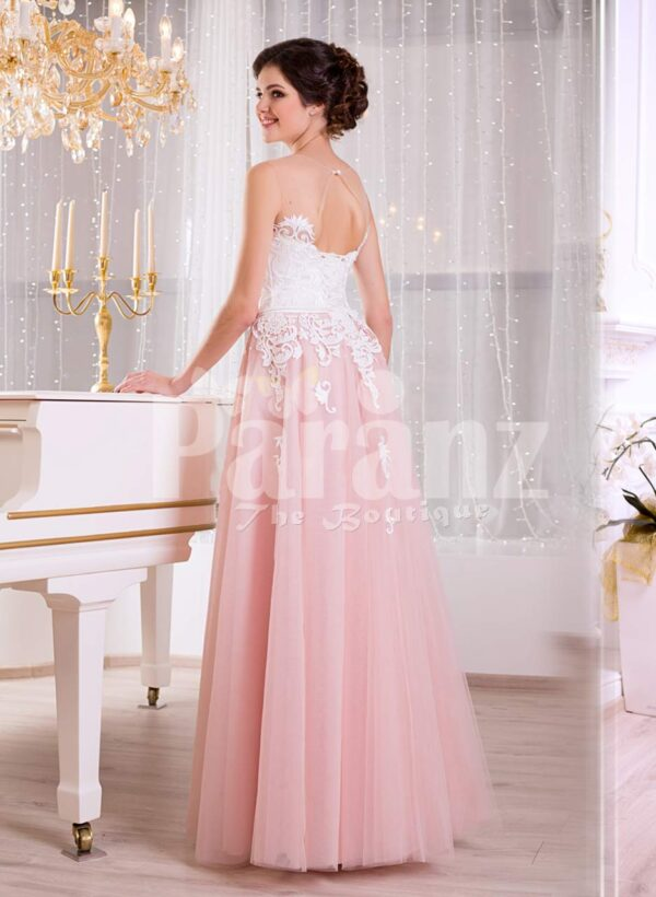 Women's truly elegant pink tulle skirt evening gown with sleeveless white bodice view