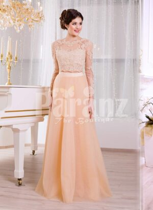 Women's truly glam evening gown with long peachy orange tulle skirt and satin bodice