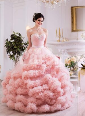Women's unique elegant evening gown with long tulle skirt with ruffle cloud hem in pink