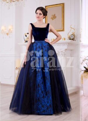 Women's velvet bodice glam evening gown with flared and high volume satin-tulle skirt