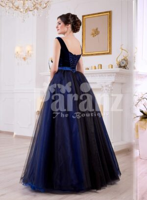 Women's velvet bodice glam evening gown with flared and high volume satin-tulle skirt back side view