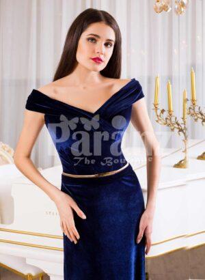 Women's velvet navy floor length evening gown with elegant off-shoulder bodice