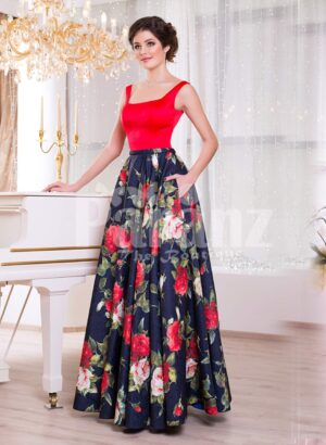 Women's vibrant red satin bodice evening gown with floral printed rich satin skirt