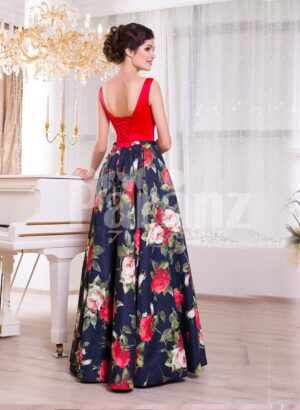 Women's vibrant red satin bodice evening gown with floral printed rich satin skirt side view