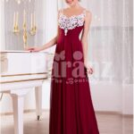 Women's white lace appliquéd bodice glam evening gown with long maroon skirt