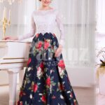 Women's white lacy bodice evening gown with colorful rosette print all over