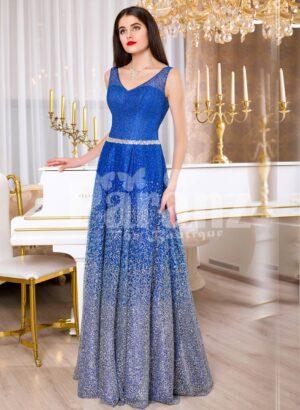 Women sleeveless glitz blue floor length satin skirt with high volume tulle skirt underneath