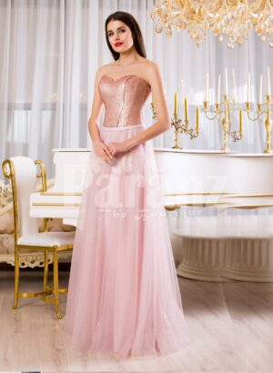 Women super glam evening gown with silver sequin bodice with pink tulle skirt
