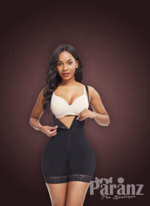 Women super slimming adjustable fabric underwear full body shaper in black new
