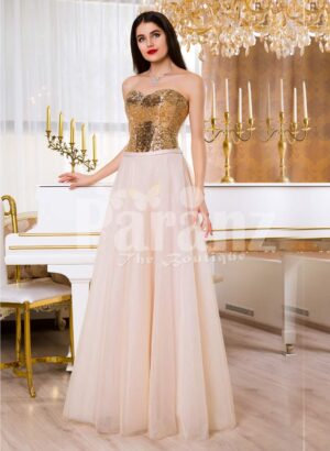 Women super stylish golden sequin bodice evening gown with long pink tulle skirt