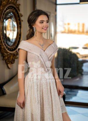 Womens amazing side slit off-shoulder beige glitz wedding gown