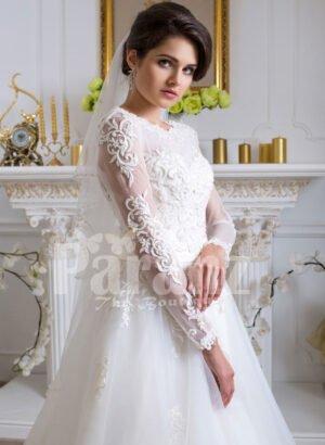 Womens beautiful full sleeve floor length tulle skirt wedding gown in white