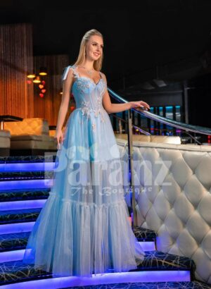 Womens bold floor length tulle skirt evening gown with sleeveless rhinestone studded bodice