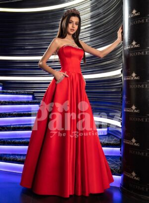 Womens bold red smooth and silky floor length rich satin evening gown