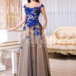 Womens brown-grey floor length tulle skirt evening gown with bright floral appliquéd bodice