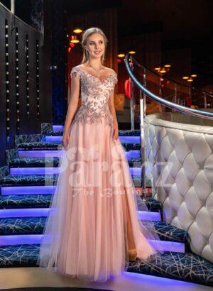 Womens deep v neckline floral appliquéd bodice evening gown with side slit pink tulle skirt