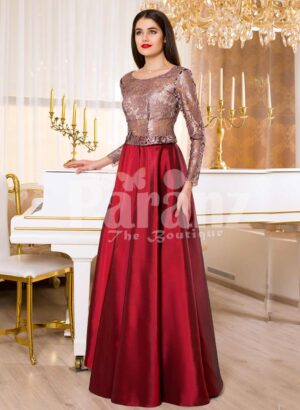 Womens elegant and glam evening gown with rose beige bodice and smooth satin red skirt