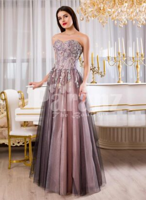 Womens elegant off-shoulder evening gown with long tulle skirt and rich appliquéd bodice