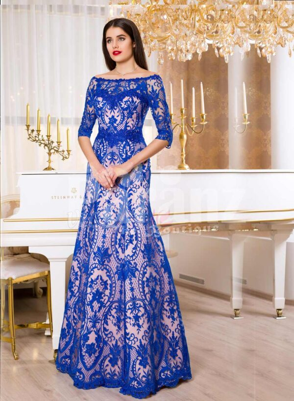 Womens elegant powder pink mermaid satin gown with bright blue lace cover all over