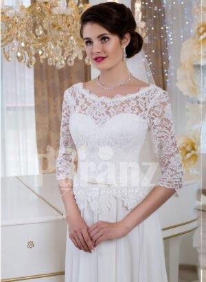 Womens elegant white lacy bodice floor length tulle skirt wedding gown