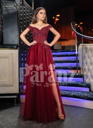 Womens exciting maroon evening gown with side slit skirt and royal rhinestone bodice
