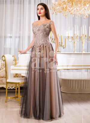 Womens exclusive evening gown with rich royal appliquéd bodice with floor length tulle skirt