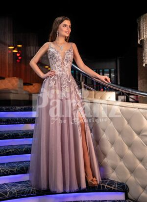 Womens exclusive mauve evening gown with royal appliquéd bodice and side slit tulle skirt